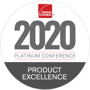 Titan Siding and Roofing 2020 Owens Corning Product Excellence Award