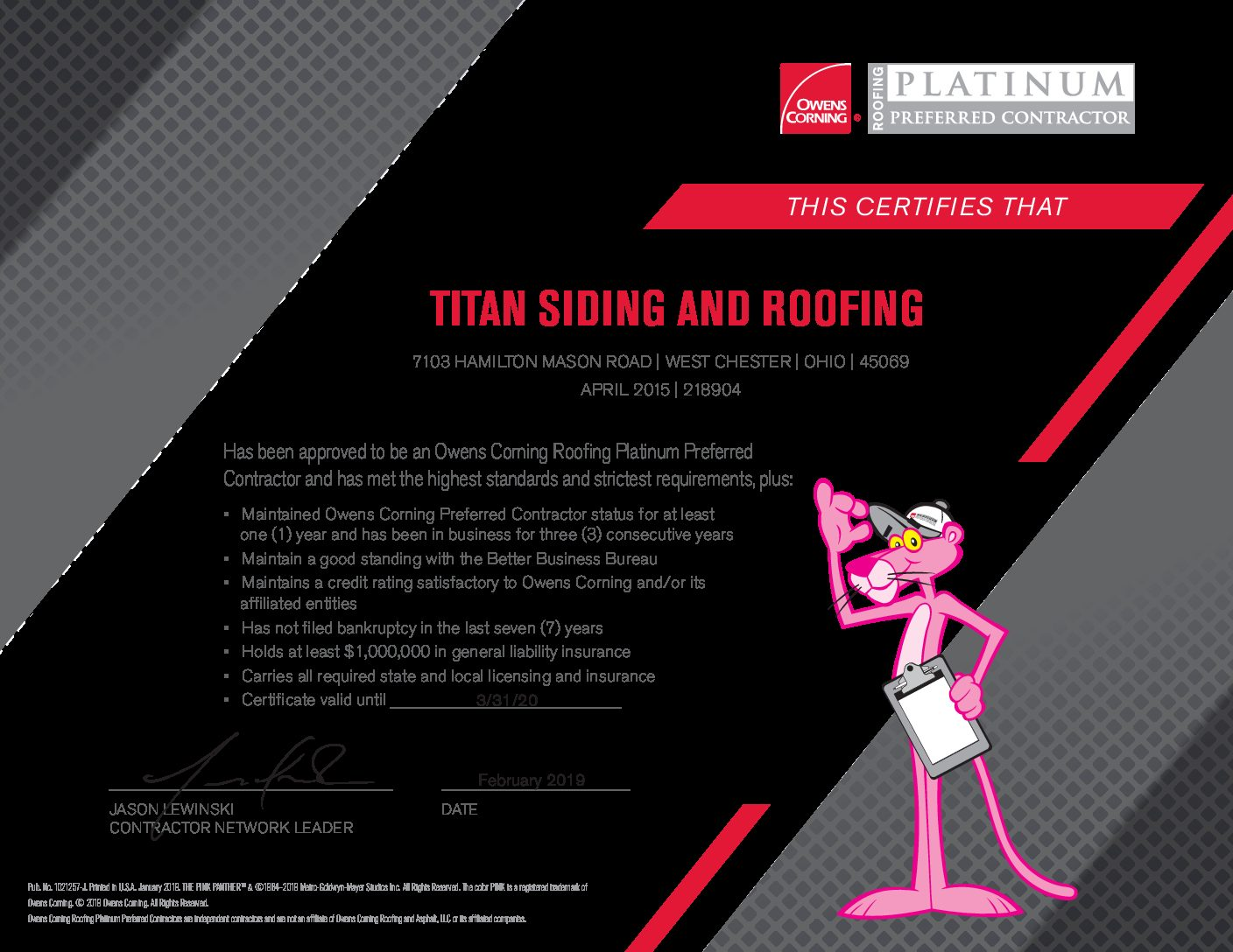 Titan Siding and Roofing Partnership